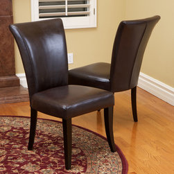 Christopher Knight Home - Christopher Knight Home Jordan Brown Leather Dining Chairs (Set of 2) - A classic,stylish,and comfortable dining chair are the elements that make up the Jordan leather dining chairs. Their smooth leather and flared top are the finishing touches to the perfect piece of furniture.