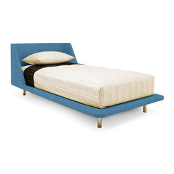 "Blu Dot - ""Blu Dot Nook Twin Bed, Aqua"" - ""What do you get when a curved, upholstered headboard flows into a slim, padded frame? One seriously good-looking bed. It's enough to make you want to leave the lights on. Available in aqua, chalk, dark roast, guacamole, smoke and stone. Also available in other sizes."""