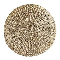 Woven Water Hyacinth Round Metallic Placemat - I love the natural grass texture of this placemat. It's also coated with a silver metallic finish, so it'll add a little shimmer and shine to your next outdoor dinner party!