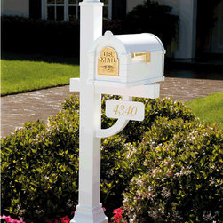 Gaines Keystone Mailboxes and Posts - This is a Original Keystone Series Deluxe Mailbox and Post Package installed outside of a home. Credit belongs to Gaines Manufacturing.