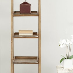 Safavieh - Safavieh Asher Oak Finish Leaning �tag�re - This leaning ladder bookcase from Safavieh is the first step in setting up your own mini library anywhere in your home. It has ample space to display books,photos or ornaments,and its distressed oak finish will complement your decor.