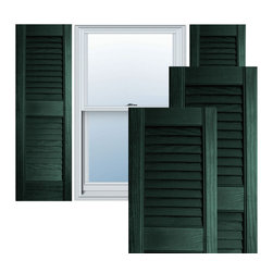 """Alpha Systems LLC - 12"""" x 39"""" Premium Vinyl Open Louver Shutters,w/Screws, Pine Green - Our Builders Choice Vinyl Shutters are the perfect choice for inexpensively updating your home. With a solid wood look, wide color selection, and incomparable performance, exterior vinyl shutters are an ideal way to add beauty and charm to any home exterior. Everything is included with your vinyl shutter shipment. Color matching shutter screws and a beautiful new set of vinyl shutters."""