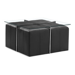 ZUO MODERN - Botero Coffee Table Set Clear Glass - The perfect versatile living room piece, the Botero coffee table set has a tempered glass top, chromed steels legs with four padded leatherette stools.