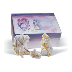 """Lladro Porcelain - Lladro Silent Night Gift Box Re Deco Figurine - Plus One Year Accidental Breakag - """" The classic figurines of Lladros best selling nativity, redecorated but with a touch entirely inspired by Christmas. Each piece is made on white porcelain and framed in gold luster glazed and matte applied on the edging on cloaks and dresses. This nativity comes either individually or as a three-piece set and with a high quality gift box very useful for storing them safely once the holiday season is over. Hand Made In Valencia Spain - Included with this sculpture is replacement insurance against accidental breakage. The replacement insurance is valid for one year from the date of purchase and covers 100% of the cost to replace this sculpture (shipping not included). However once the sculpture retires or is no longer being made, the breakage coverage ends as the piece can no longer be replaced. """""""