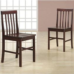 Walker Edison - Espresso Wood Dining Chairs (Set of 2) - These simple, yet elegant set of wood dining chairs are a beautiful addition to any kitchen, dining room or sitting area. Perfect for everyday use and extra seating these beautiful chairs will last years to come.