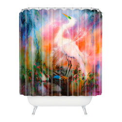DENY Designs - Ginette Fine Art Egret Dreams Shower Curtain - Who says bathrooms can't be fun? To get the most bang for your buck, start with an artistic, inventive shower curtain. We've got endless options that will really make your bathroom pop. Heck, your guests may start spending a little extra time in there because of it!