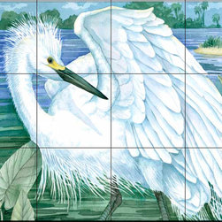 The Tile Mural Store (USA) - Tile Mural - Snowy Egret - Kitchen Backsplash Ideas - This beautiful artwork by Paul Brent has been digitally reproduced for tiles and depicts a snowy egret.  Images of waterfowl on tiles are great to use as a part of your kitchen backsplash tile project or your tub and shower surround bathroom tile project. Pictures of egrets on tile, images of herons on tile and decorative tiles with ducks and geese make a great kitchen backsplash idea and are excellent to use in the bathroom too for your shower tile project. Consider a tile mural of water fowl for any room in your home where you want to add interesting wall tile.