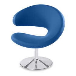 Zuri Furniture - Shell Swivel Occasional Chair - Blue - The Shell chair not only adjusts in height, but swivels for added convenience! Available in Black faux-leather and Bright Blue! Perfect for that spot in your home or office that needs attention!
