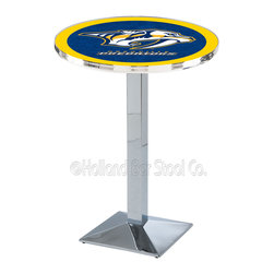 Holland Bar Stool - Holland Bar Stool L217 - Chrome Nashville Predators Pub Table - L217 - Chrome Nashville Predators Pub Table  belongs to NHL Collection by Holland Bar Stool Made for the ultimate sports fan, impress your buddies with this knockout from Holland Bar Stool. This L217 Nashville Predators table with square base provides a commercial quality piece to for your Man Cave. You can't find a higher quality logo table on the market. The plating grade steel used to build the frame ensures it will withstand the abuse of the rowdiest of friends for years to come. The structure is triple chrome plated to ensure a rich, sleek, long lasting finish. If you're finishing your bar or game room, do it right with a table from Holland Bar Stool.  Pub Table (1)