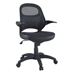 Modway - Candid Office Chair in Black - Let fresh and innovative ideas pour forth. The Candid chair functions as a spontaneous and unrehearsed addition to your work environment. With a contoured padded mesh seat, ergonomic mesh back, and easy flip up arms, take flight to more natural and independent modes of creative speech.