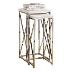 Monarch Specialties - Monarch Specialties 3026 2-Piece Plant Stand Set Chrome and Glossy White - With its chic glossy white tops, this 2 piece plant stand set gives an exceptional look to any room. Its original criss-cross chromed metal base provides sturdy support as well as a contemporary look. Use this multi- functional set to place your favorite plant, or decorative piece. This set will be a sure eye catcher!