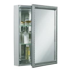 """KOHLER - KOHLER K-CB-CLW2026SS Aluminum Single-Door Medicine Cabinet - KOHLER K-CB-CLW2026SS 20""""W x 26""""H x 5-1/4""""D Aluminum Single-Door Medicine Cabinet with Decorative Silver Framed Mirrored Door"""