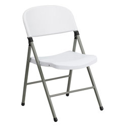 Flash Furniture - Flash Furniture Hercules Series 330 lb. Capacity White Plastic Folding Chair - When in need of temporary seating this lightweight, portable chair is perfect. Folding chairs can be used for banquets, Parties, Graduations, sporting events, school functions and classrooms. This chair will be the perfect addition in the home when in need of extra seating to accommodate guests. If you are hosting an event or party where you need additional seating, you can use the number of chairs you want while storing the rest conveniently out of your way. The chair will not take up anywhere near as much space as chairs that cannot fold when it comes time to clean up. The great thing about this folding chair is that it can be used for both indoor and outdoor events to meet all your party planning needs.