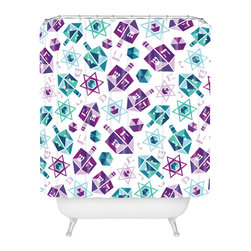 DENY Designs - DENY Designs Zoe Wodarz Dreidel Facets Shower Curtain - Who says bathrooms can't be fun? To get the most bang for your buck, start with an artistic, inventive shower curtain. We've got endless options that will really make your bathroom pop. Heck, your guests may start spending a little extra time in there because of it!