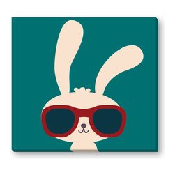 Gallery Direct - Cool Rabbit Gallery Wrapped Canvas - Sure to make you smile! This print is the perfect way to add character to a child's room. Printed using archival inks on artist grade canvas and wrapped over 1.5 inch stretcher bars, the print will hang 1.5 inches from your wall.