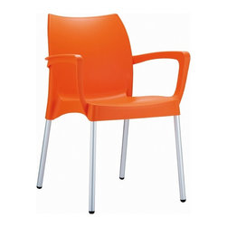 Siesta - Dolce Resin Outdoor Armchair Orange (Set of 4) - Made from commercial grade resin polypropylene with aluminum legs. Perfect for heavy use areas. Great for outdoor spaces, patios and decks. Used by restaurants, cafes and hotels. Legs are anodized aluminum. Chairs are stackable, easy cleaning and UV resistant. Made for outdoor use.