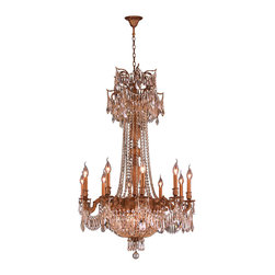 """Worldwide Lighting - Winchester 15 Light French Gold Finish Golden Teak Crystal Chandelier 30"""" x 47"""" - This stunning 15-light Chandelier only uses the best quality material and workmanship ensuring a beautiful heirloom quality piece. Featuring a cast aluminum base in French Gold finish and all over golden teak (translucent champagne color) crystal embellishments made of finely cut premium grade 30% full lead crystal, this chandelier will give any room sparkle and glamour. Worldwide Lighting Corporation is a privately owned manufacturer of high quality crystal chandeliers, pendants, surface mounts, sconces and custom decorative lighting products for the residential, hospitality and commercial building markets. Our high quality crystals meet all standards of perfection, possessing lead oxide of 30% that is above industry standards and can be seen in prestigious homes, hotels, restaurants, casinos, and churches across the country. Our mission is to enhance your lighting needs with exceptional quality fixtures at a reasonable price."""