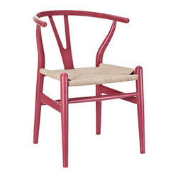 """LexMod - Amish Wooden Dining Chair in Red - Amish Wooden Dining Chair in Red - Time flows effortlessly through the Amish wooden dining chair. The craftsmanship is evident throughout a piece that appears both petite and boldly courageous. While Amish conveys a transitional feel with its solid beechwood back and base, the result is an enduring design with a style that doesnt fade. Given the iconic form and staggered-level wooden support rods, Amish deftly develops the interplay between permanence and sequential movements forward. The seat is made of paper rope, a new twine that is eco-friendly, soft, anti-static and durable. Set Includes: One - Amish Wood Dining Armchair Durable Paper Rope Seat, Solid Beech Wood Frame, Fully Assembled, Sturdy Construction Overall Product Dimensions: 22""""L x 21.5""""W x 28.5""""H Seat Dimensions: 14.5""""L x 17""""H Armrest Height: 28""""H - Mid Century Modern Furniture."""