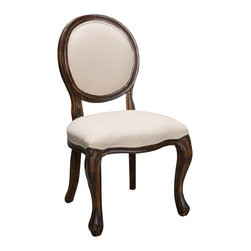 Great Deal Furniture - Sheridan Beige Fabric Oak Wood Dining Chairs (Set of 2), Beige Solid - The Sheridan Dining Chair is a perfect fit for any space in your home. Enjoy the traditional, Queen Anne style circular back, comfortable padded seat, oak wood trim and curved legs. Line these chairs on the sides of your dining table for an impressive dining scape.