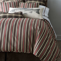 """French Laundry Home - French Laundry Home Twin Striped Duvet Cover, 69"""" x 90"""" - In red, chocolate, and ivory, this outdoorsy bedding ensemble from French Laundry Home has all-ages appeal. Dry clean. Striped linens are made in the USA of imported linen. Plaid linens are made in the USA of cotton and finished with faux-leather trim. Brown corduroy dust skirt, made in the USA"""