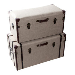 River of Goods - Set of two Nesting Linen Trunks - Add style and function to your home with these beautifully crafted nesting trunks.