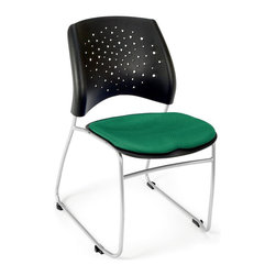OFM - Stars Stacking Chair w Curved Back & Padded Seat - Set of 4 (Black) - Color: Black. Set of 4. Stacks 6 high without dolly, and 16-20 high with optional dolly. Triple curve seat design. Extra thick curved back with built-in lumbar support. Silver powder coat paint finish. Stain resistant fabric. Replaceable seat cushions. Sled base. Pictured in Shamrock Green. Seat size: 18.5 in. W x 17.5 in. D. Back size: 19 in. W x 16 in. H. Seat height: 22. Overall: 20.75 in. W x 23.5 in. D x 32 in. H