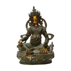 """Golden Lotus - Chinese Handmade Metal Golden Color Zumbala Statue - Dimensions: w8.5"""" x d6.5""""x h12"""""""