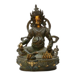 "Golden Lotus - Chinese Handmade Metal Golden Color Zumbala Statue - Dimensions: w8.5"" x d6.5""x h12"""