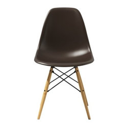 Herman Miller - Eames Molded Plastic Side Chair - Wood Dowel Leg Base by Herman Miller - The Eames® Molded Plastic Side Chair - Wood Dowel Leg Base by Herman Miller® pairs a smooth, comfortable seat with a structurally beautiful base. The seat is made out of molded polypropylene with a deep, ergonomically formed seat pocket. It sits on top of turned wood dowel legs reinforced with Black metal wire braces. Since its early beginnings in 1905 (then known as the Star Furniture Company), Herman Miller has stood as one of the leaders in ergonomic furniture design and manufacture. Today, with a strong focus on designing furnishings with excellent form and function, this Michigan-based company produces a variety of home and office products that improve the human experience wherever people work, create, learn and live.