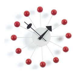 Vitra - Nelson Ball Clock, Red - What time is it? Time to add some iconic style to your room. A good place to start, this clock designed by George Nelson has an atomic look in an instantly recognizable midcentury design.