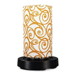 Patio Living Concepts - Patio Living Concepts Patioglo Led Lamps Table Lamp Bright White - Orange Swirl - Table Lamp Bright White - Orange Swirl Fabric Cover belongs to PatioGlo LED Lamps Collection by Patio Living Concepts NEW FOR 2013! AWARD WINNING DESIGN! 3 super bright white LEDs provide equivalent light output of a 40 watt incandescent bulb while only using 3 watts. Body of the PatioGlo lamp is molded of special UV protected high density frost polyethylene mounted to a weighted resin base. The base includes an energy saving low voltage LED light source designed to provide years of carefree illumination. Accented with colorful outdoor fabric cover. Completely weatherproof with nothing to rust or corrode. Great for seaside environments. Includes remote control with on/off and dimming functions. Lamp (1)