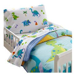 Wildkin - Olive Kids Dinosaur Land Toddler Comforter - Prehistoric fun! Our Dinosaur Land comforter/quilt has rows of adorable dinosaurs roaming across the bed. Each of the dinosaurs are outline stitched. Super soft all cotton! Back is solid.