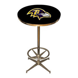 Imperial International - Baltimore Ravens NFL Pub Table - Check out this awesome pub table. It's perfect for your Man Cave, Game Room, Home Bar, or anywhere you want to show love for your favorite team. It has a disco style steel base with leg levelers and foot ring.