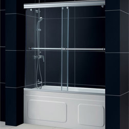 BathAuthority LLC dba Dreamline - Charisma Frameless Bypass Sliding Tub Door & QWALL-Tub BackWalls Kit - This DreamLine kit offers the perfect solution for a bathroom remodel with a Charisma frameless bypass tub door and a coordinating backwall panels. The Charisma tub door has a no wall profile design for the unique combination of a bypass sliding shower door and the beauty of frameless glass. BackWall panels made from durable and attractive Acrylic/ABS materials in a tile pattern finish the bathroom transformation.