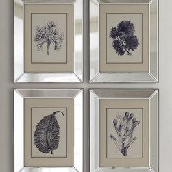 """4-Piece """"Blue Coral"""" Print Set -"""