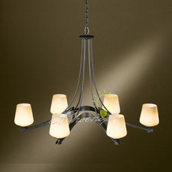 Ribbon 6-Light Chandelier - The ribbon arms and hand-forged center stem work of this six-light fixture are a modern take on the classic chandelier. And the tapered glass shades make it even more so. A contemporary twist on a timeless form. Chain hung. Direct wire only. Damp rated. Shown in Dark Smoke finish with Stone glass.