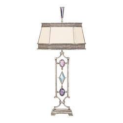 Fine Art Lamps - Encased Multi-colored Gems Table Lamp, 729810-1ST - Bring this gem of a lamp into your home. Clear or different colored crystals set into a vintage silver-leaf finish set off the simple hand-sewn silk shantung shade to fabulous effect.