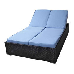 Modway - Evinve Two-Seater Outdoor Chaise Recliner In Espresso With Light Blue C - All Weather Synthetic Rattan Weave