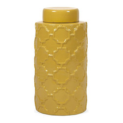 iMax - iMax Essentials Mellow Yellow Large Canister X-23281 - With it's bright color and embossed quatrefoil pattern, this large lidded ceramic canister is both a fun and functional part of the Mellow Yellow collection from Essentials by Connie Post.