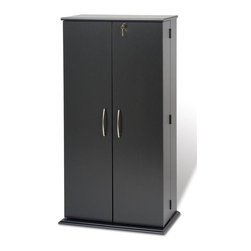 Prepac - Tall Locking Media Storage Cabinet - Doors with brushed nickel finished handles. Adjustable shelves holds variety of media sizes. Off-set hinge points allows 180 degree movement. Capacity: 514 CDs, 320 DVDs, 470 Blu-Ray discs and 190 VHS cassettes. Warranty: Five years. Made from CARB-compliant, laminated composite woods with sturdy MDF backer. Made in North America. Minimal assembly required. 24 in. W x 14.5 in. D x 46.75 in. HKeep your growing collection safe from prying eyes and sticky fingers with the Tall Locking Media Storage Cabinet. Fully adjustable shelves can be set to any position to accommodate your collection and horizontal media storage enables easy sorting, filing and re-filing of your collection as it grows. its a great addition to any room.