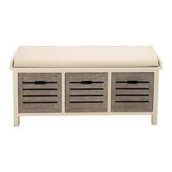 Classy Elegant Wood 3-Drawer Fabric Bench - Description: