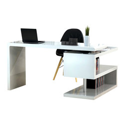 J&M Furniture - A33 Modern Office Desk in White Lacquer - The simplistic design of this unique office desk captures attention, while its S-design bookcase provides an extra storage and organization. A33 modern office desk by M Furniture is finished in a white lacquer. Features: