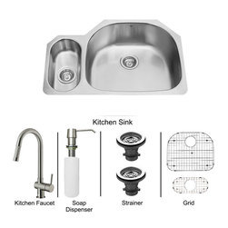 Vigo Industries - All in One 32 in. Undermount Stainless Steel Kitchen Sink and Faucet Set - Enhance the look of your kitchen with a VIGO All in One Kitchen Set featuring a 32 in. Undermount kitchen sink, faucet, soap dispenser, matching bottom grids and strainers. The VG3321R double bowl sink is manufactured with 18 gauge premium 304 Series stainless steel construction with commercial grade premium satin finish. Fully undercoated and padded with a unique multi layer sound eliminating technology, which also prevents condensation. All VIGO kitchen sinks are warranted against rust. Required interior cabinet space: 34 in. Kitchen sink is cUPC and NSF-61 certified by IAPMO. All mounting hardware and cutout template provided for 1/8 in. reveal or flush installation. The VG02008ST kitchen faucet features single function Pull-Out faucet head with power stream, and is made of solid brass with a stainless steel finish. Includes an aerator that resists mineral buildup and is easy-to-clean. High-Quality ceramic disc cartridge. Retractable 360-Degree swivel spout expandable up to 30 in. Single lever water and temperature control. All mounting hardware and hot/cold waterlines are included. Water pressure tested for industry standard, 2. 2 GPM Flow Rate. Standard US plumbing 3/8 in. connections. Faucet height: 17 in. Spout reach: 7 7/8 in. Kitchen faucet is cUPC, NSF-61, and AB1953 certified by IAPMO. Faucet is ADA Compliant. 2-hole installation with soap dispenser. Soap dispenser is solid brass with an elegant stainless steel finish and fits 1 1/2 in. opening with a 3 1/2 in. spout projection. Matching bottom grid is Chrome-Plated stainless steel with vinyl feet and protective bumpers. Sink strainers are made of durable solid brass in chrome finish. All VIGO kitchen sinks and faucets have a Limited Lifetime Warranty.