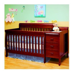 Athena Kimberly 3 in 1 Convertible Crib and Changer Combo - Cherry - Start planning for their first day in Kindergarten because when you bring home the Athena Kimberly 3 in 1 Convertible Crib and Changer Combo - Cherry you've already done about five years worth of furniture shopping for your little one's first room. The simple design of this hardwood crib hides its greatest feature the convertible design that lets you start with a crib and changing table and ends with a full-sized bed and matching nightstand. The non-toxic glossy finish in classic cherry has timeless appeal and the straight lines and subtle curves on the feet and edges make this a classy set to start life with. All the pieces that you need to make the change to the bed/nightstand combo are included. About AFG AFG might not be the biggest company in the world but for over two decades they have been striving to be one of the best. While other crib designers focus on fashionable designs and aesthetic features AFG dedicates the majority of its resources toward quality assurance consumer safety and customer satisfaction. AFG is an American-owned family business and supervises every single step of its manufacturing process ensuring the best and most environmentally friendly overseas production facilities. AFG believes in social responsibility by making certain that all AFG baby products use sustainable wood and by being a major contributor to nonprofit action groups such as The Compassion & Relief Foundation and the Green World Campaign.