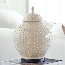 "Perforated Ceramic Jar Accent Table Lamp - The first thing I thought when I saw this was ""sea urchin,"" which makes me think of the beach. And nothing is more summery than the beach."
