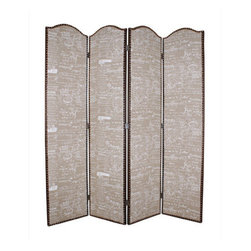 GALORE SCREEN - Add a natural, romantic look in a heartbeat with theNavarro Room Divider. Perfect for defining your space, this four-panel, double sided screen is crafted of sturdy fir with a textured burlap front decorated in a tufted ash fabric with letter design.