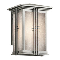 KICHLER - KICHLER 49158SS Portman Square Arts and Crafts/Mission Outdoor Wall Sconce - The Arts and Crafts inspired Portman Square collection, in Olde Bronze over solid brass or Stainless Steel, incorporates elongated rectangle-shaped Etched Seedy glass highlighted by vertical metal banding. Contrasting rod crossbars make an elegant, yet simple statement.