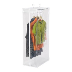 "Honey Can Do - Honey-Can-Do PEVA Clear and White Short Garment Closet with Zippered Front - Protect your wardrobe investment with this hanging storage closet. The breathable material surrounds your wardrobe to prevent moths, musty odors, and dust or debris from damaging your clothing. Full-view, transparent front with zipper closure allows you to easily see the contents. Measuring a sizable 42"" high x 12"" wide, you can easily store your suits, jackets, shirts, and other shorter garments inside. A heavy duty metal frame gives strength and support to heavier items. Setup couldn't be easier, just hang it from any standard closet rod and it's ready to use."