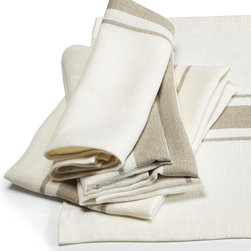 Libeco - Kalahari Napkin (set of two) - Named after the Kalahari Desert in Southern Africa.  The fabric is rustic, pure linen with a slightly vintage feel about it.  With a central flax stripe on an oyster background, this collection is simple, elegant and timeless.  The Kalahari collection includes napkins, place mats, tablerunners, tea towels and aprons.