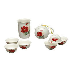 Red Peonies - The Tea Set - this elegantly crafted tea set is the aesthetically pleasing conversation piece you've been drying to wow your guests with. the beautiful shock of color of the painted red peonies on creamy ivory color ceramic make this set a statement piece all its own.